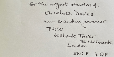 Recorded delivery letter to Elisabeth Davies PHSO